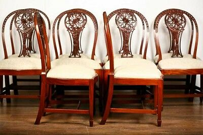 10 Mahogany Hepplewhite Dining Chairs Carved Wheel Back 4