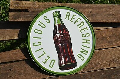 "Drink COCA-COLA In Bottles ""Delicious /& Refreshing"" Tin Metal Sign 10""x28"""