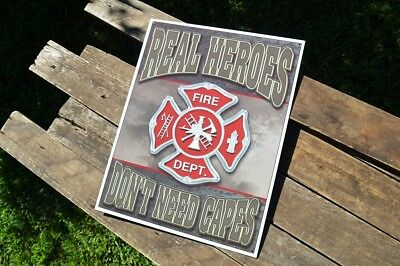 Rustic looking Tin Button Firefighter Sign with Maltese Cross