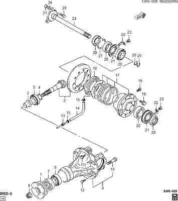 Front Differential Bearing Shaft Assembly for 1998-2004 Chevrolet Tracker