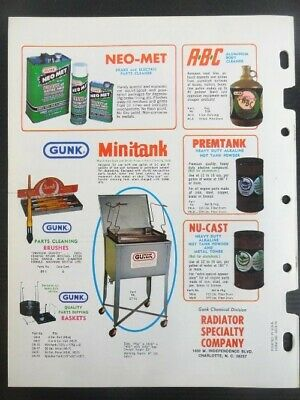 """Vintage 1978 GUNK """"Cleaning Problems End..With GUNK Solutions"""" Jobbers Catalog 4"""