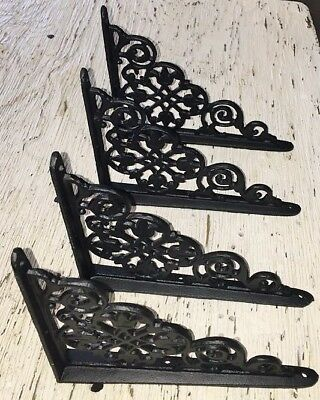 SET OF 4 VICTORIAN FLORAL PATTERN BRACKETS Antique Styled cast iron braces BLACK 9