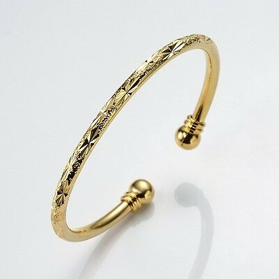 Women Gift 18k Yellow Gold Filled Open Charming Bangle Bracelet Fashion Jewelry 2
