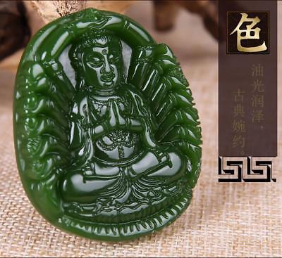 China 100% natural Nephrite hetian jade Thousands Hands Guanyin green pendant 3