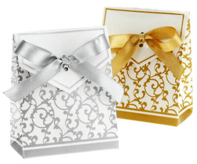 50/100pcs Wedding Favour Candy Boxes Bags With Ribbon Sweet Cake Gift Party Favo 11