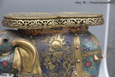 Chinese Bronze Cloisonne Enamel Eight Treasures Elephant Flower Stool Chair Pair 5