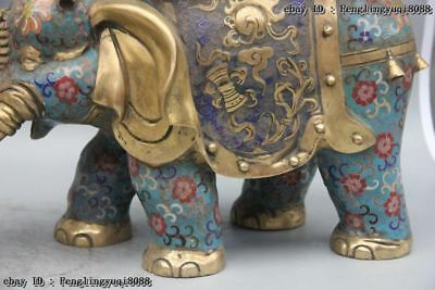 Chinese Bronze Cloisonne Enamel Eight Treasures Elephant Flower Stool Chair Pair 6