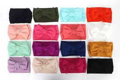 Baby Girls Large Bow Turban Headband Hair band Head Wrap Cute Kids Plain Stretch 5