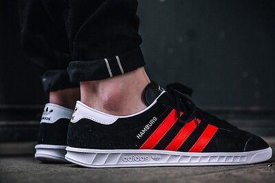 Details about Adidas Hamburg ++++ RARE++++ 13 BLACK SUEDE RED STRIPE NEW spezial samba trimm