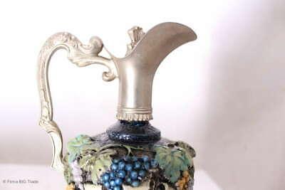 Zauberhafter italienischer Wein Krug Zinnkrug Steingut Tolle Motive und Farben 5