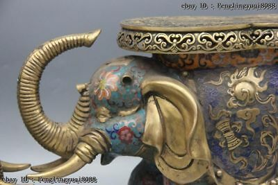 Chinese Bronze Cloisonne Enamel Eight Treasures Elephant Flower Stool Chair Pair 4
