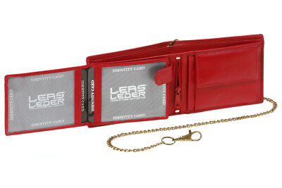 Biker Geldbörse Portmonee Portemonnaie mit Kette Portmonee LEAS Echt-Leder rot