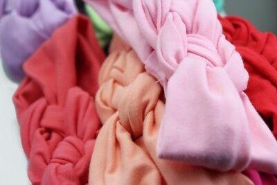 Baby Girls Turban Knot Twist Headband Hair band Head Wrap Cute Kids Floral Plain 3