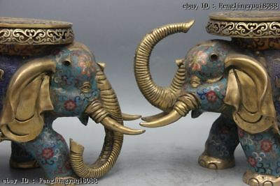 Chinese Bronze Cloisonne Enamel Eight Treasures Elephant Flower Stool Chair Pair 3