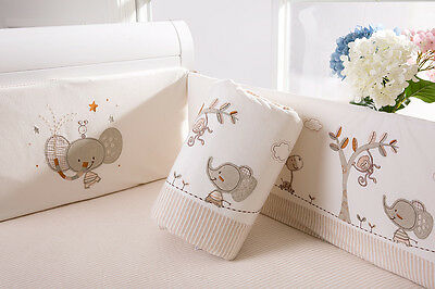 Baby Kid Toddler Cot Crib Bedding Bumpers Pure Cotton Newborn Gift  Soft Cream 7