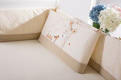 Baby Kid Toddler Cot Crib Bedding Bumpers Pure Cotton Newborn Gift  Soft Cream 3