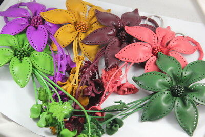 "5.5"" Large Flower Handmade Purse Genuine Leather Floral Snap Vintage Key Ring 3"