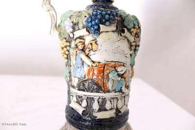 Zauberhafter italienischer Wein Krug Zinnkrug Steingut Tolle Motive und Farben 4