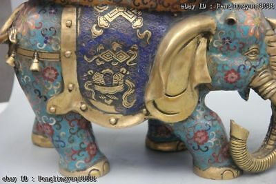 Chinese Bronze Cloisonne Enamel Eight Treasures Elephant Flower Stool Chair Pair 9