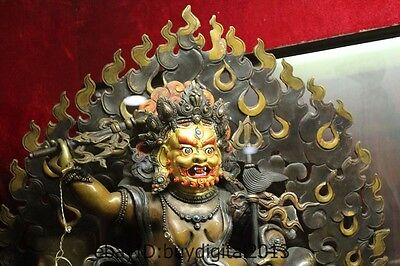 "22""Tibet Buddhism Temple Pure Bronze Gilt Sit Dragon White Jambhala Buddha 2"