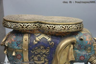 Chinese Bronze Cloisonne Enamel Eight Treasures Elephant Flower Stool Chair Pair 8
