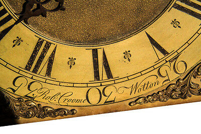"ROBERT CROOME of WOOTTON under EDGE.  LOVELY 11"" BRASS DIAL LONGCASE"