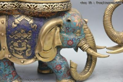 Chinese Bronze Cloisonne Enamel Eight Treasures Elephant Flower Stool Chair Pair 7
