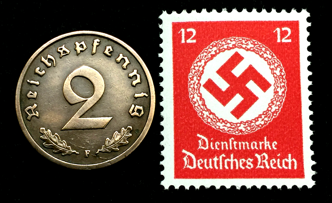Historical Artifacts Authentic German WW2 Stamp /& Antique 5 Pf German Coin