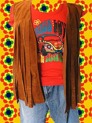 60 hippie woodstock damen fransen weste 70er jahre easy rider braun gr 36 38 eur 29 99. Black Bedroom Furniture Sets. Home Design Ideas
