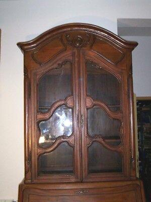 Großer Barockstilartiger Aufsatz-Sekretär Holz Nussbaumton GlasschrankTabernakel