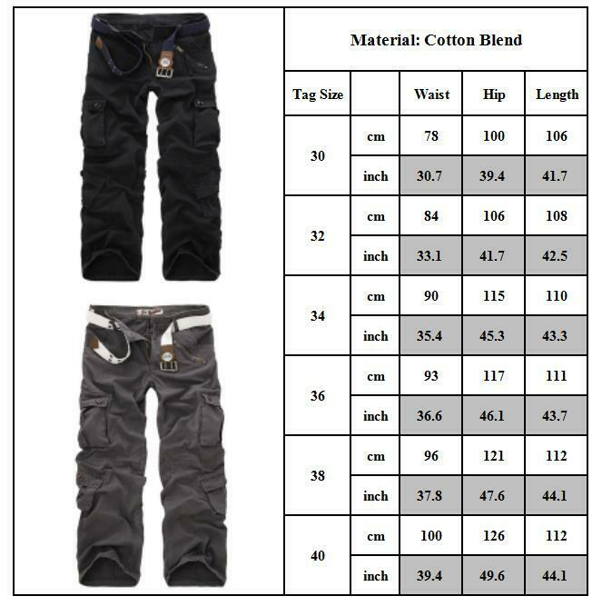 Mens Combat Cargo Trousers Work Tactical Military Army Camo Chino Long Pants AU 6