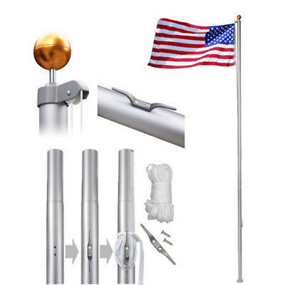 25ft Flagpole Aluminum Kit Sectional Halyard Pole Outdoor /w 2pcs American Flags 6