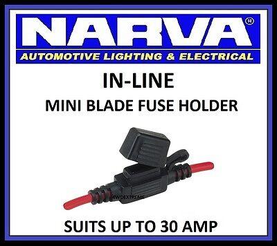Narva In Line Mini Blade Fuse Holder Dual Battery System Weatherproof 54412
