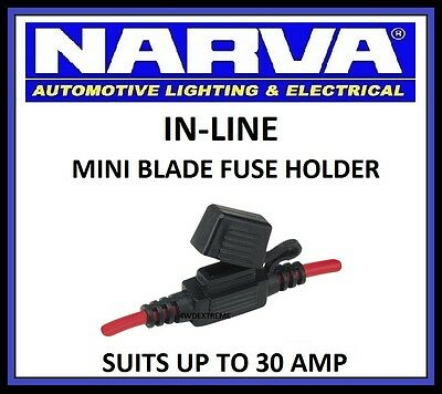 Narva In Line Mini Blade Fuse Holder Dual Battery System Weatherproof 54412