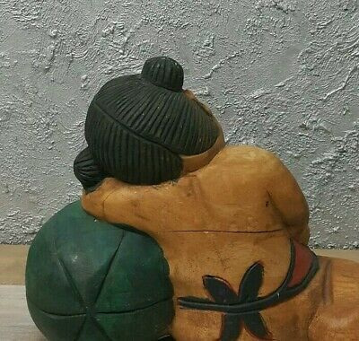 Large Antique Vintage Chinese Hand Carved Wooden Figurines/ Statue Boy with Girl 10
