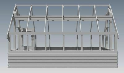 GARDEN HOUSE / GLASS HOUSE - GROW VEGIES & PLANTS - V01 - Building Plans 3D & 2D 3