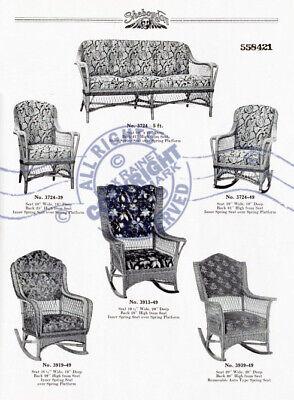 Sheboygan Fiber Furniture 1937 CATALOG Wicker Rattan Upholstered Chairs + Settee 3