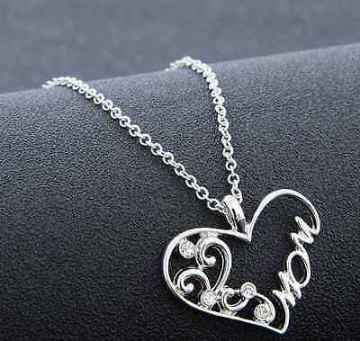 Family couple Heart Love Necklace gold Silver Pendant Women Charm Chain Jewelry 11