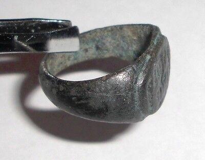 Ancient Roman Empire, 1st - 3rd c. AD. Bronze Intaglio Ring, Horse with Rider 3
