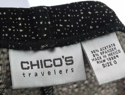 Chico's Travelers Womens Acetate Slinky Crop Pants Capri Print Black Sz 0 Small 6