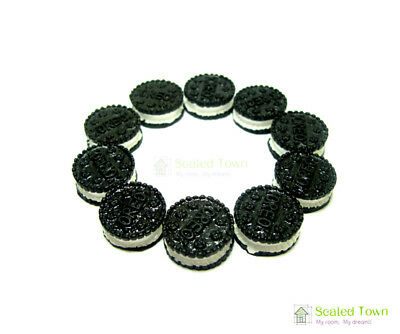 10 Miniature Oreo Sandwich Biscuit Chocolate Cookies Dollhouse Food Bakery Decor 12