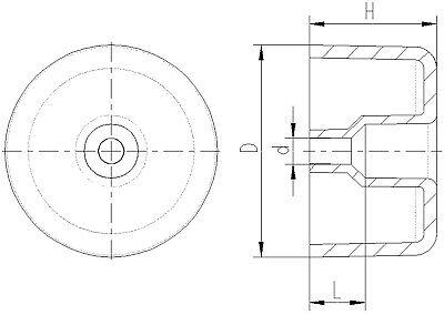 8 Möbelgleiter/Polsterfüsse, 50 x 30 mm, Kunststoff/PE, Schwarz