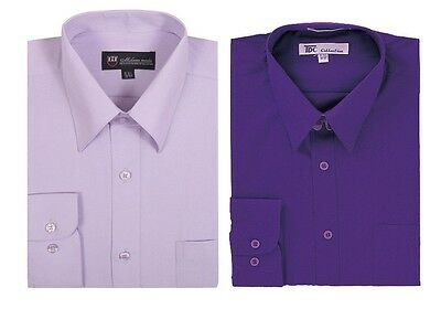 Men/'s Cotton Blend Solid Color Dress Shirt Size Medium to 4X Fortino Landi SG02