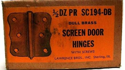 "Lot Of 2 (1 Pair) Vintage 3"" Steel Dull Brass Screen Door Hinge With Screws Dm 5"
