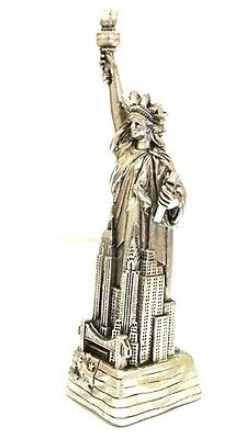 "4"" Statue of Liberty Figurine w.Flag Base and New York City SKYLines NYC #Silver 2"