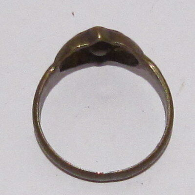VINTAGE NICE BRONZE RING WITH YELLOW STONE FROM THE EARLY 20th CENTURY # 17B 6