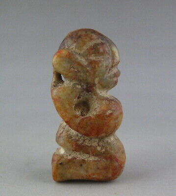 Old Chinese Hongshan culture Jade Hand Carved People figurine amulet 2