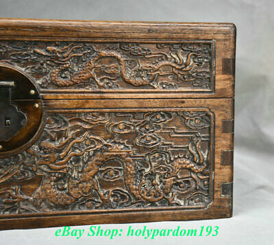 "12"" Old Chinese Huanghuali Wood Carving Palace Dragon Phoenix Jewel Case or Box 5"