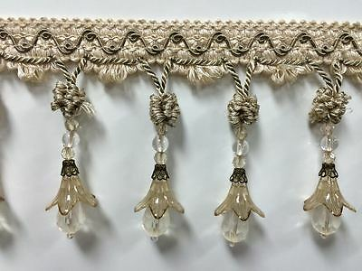 Gray /& Black 3.25 Crystal Beaded Fringe Trim TF-75//50-37-47 Drapery//Upholstery//Home Decor//by The Yard Silver