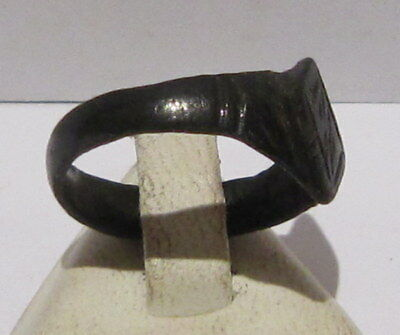 Beautiful Post-Medieval Bronze Ring With Engraving On The Top # 660 4